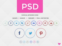 Rings - Social Network Buttons in Circle PSD freebie