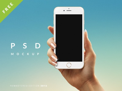 iPhone 6 Mockup PSD (+ Android) iphone6 female hands hand layered android iphone smartobject psd mockup free freebie