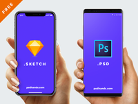 Hand with iPhone X /8/Android/ Free Mockup PSD/SKETCH