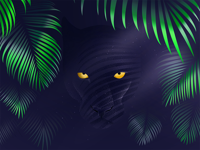 Hunter wallpaper freebie photoshop jungle rainforest illustration vector panther