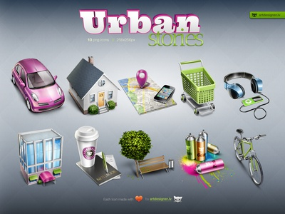 Urban Stories - 10 free icons house bicycle car map shopping cart heaphones home urban city icons free