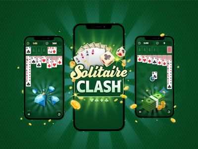 Solitaire Clash – Real Cash Betting Solitaire Game animation ux ui game art graphicdesign web app icon vector design branding logo illustration