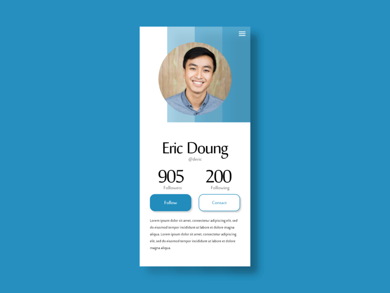 006 - User profile user profile user ux ui dailyui 006 dailyui