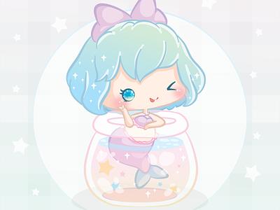 Kawaii Mermaid in a Bottle fairy bottle kawaii illustration cute mermaid vector pastel sparkly magical