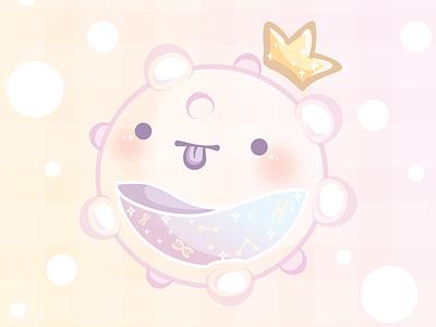 Cute but mean microorganism crown virus kawaii cute illustration