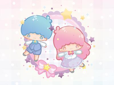 Little Twin Stars pastel ribbons stars little twin stars purple blue pink kawaii illustration fanart sanrio