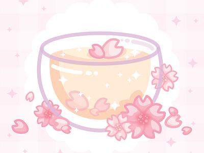 Cherry blossom tea 🌸 tea petals food pink cute art floral