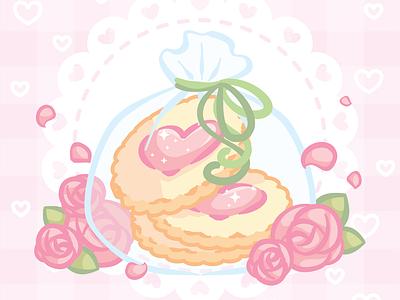 Valentine Sugar Cookies vector ipad pastel food pink cute art roses sweets sugar cookies