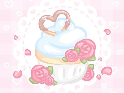 Heart Cupcake floral roses cupcake pink cute pastel vector