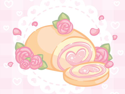 Heart Roll Cake petals cake food roses vector cute