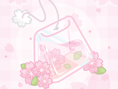 Cherry Blossom Aesthetic Tea Bag tea sakura cherryblossom pink food illustration cute vector