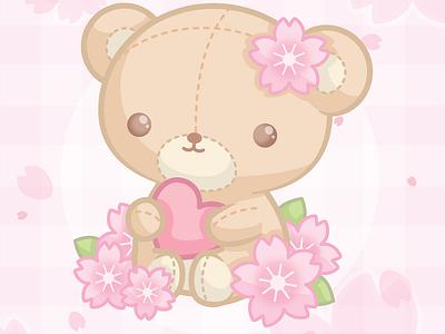 🌸 Cherry blossom teddy bear 🌸 teddy bear floral sakura cherry blossoms cute kawaii pink illustration vector