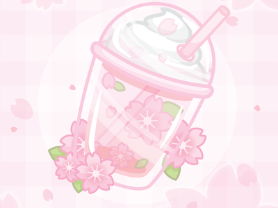 🌸 Cherry blossom soda float 🌸 cherry blossoms pastel pink cute food vector