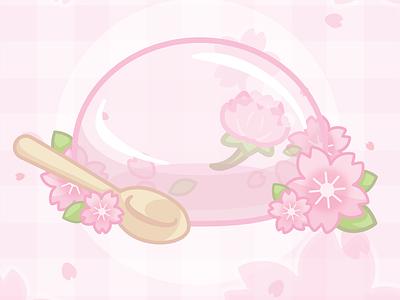 🌸 Cherry blossom Raindrop cake 🌸 pastel food cute vector floral pink sakura cherryblossom snacks jelly desserts