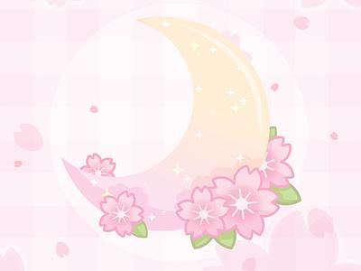🌸 Cherry moon 🌸 sakura gradient illustration art feminine moon yellow pastel floral pink cute vector
