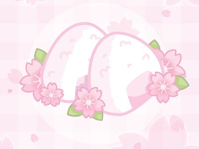 🌸 Onigiri 🌸 floral cherryblossom sakura illustration pink pastel food cute vector