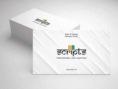 Scripts Professional Data Services Business Card graphic design branding design business card illustration design typography branding vector