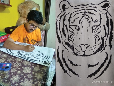 Drawing & Painting (Tiger Face) sketching art artist painting drawing illustration