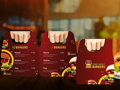 Menucard Design - Take Away Burgers hotel restaurant brand design brand menu menu card design menu card illustration design vector typography creative graphic design branding marketing