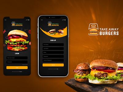 Mobile Application Design - Take Away Burgers ux mobile illustration design vector typography marketing creative graphic design branding ui mobile app application design mobile application application