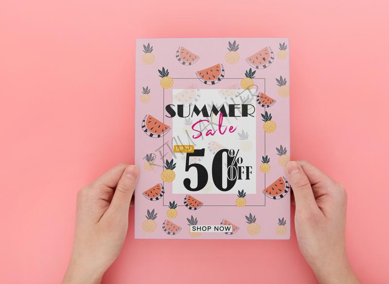 Flyer logo design vector branding flyer design illustration shope now offer simple sale summer