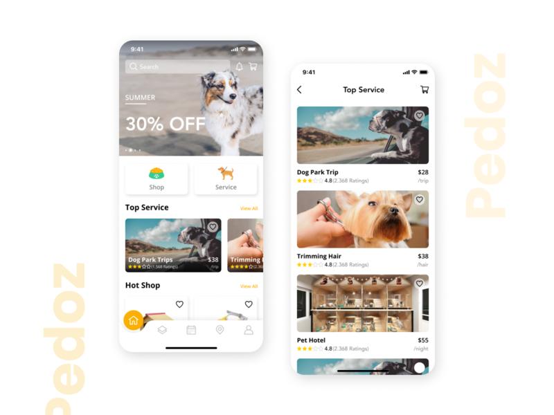 Pedoz - Pet Service App UI Kit Full mobile app ui kit app ux ui pet service store shop booking map service pet