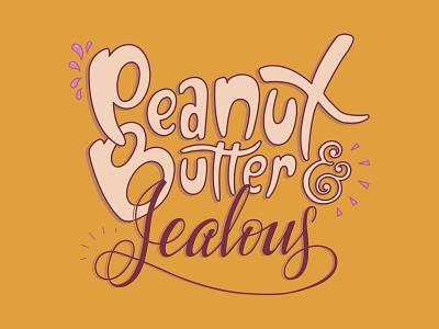 Peanut Butter & Jealous jealous food packaging branding vector peanut butter design typography lettering illustration