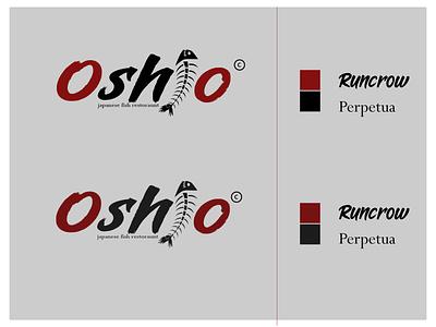 Oshio Japanese fish restorant letters typogaphy designer designs logodesign logo design logotype logos restaurant fish typography minimal illustration art vector illustrator logo flat design branding