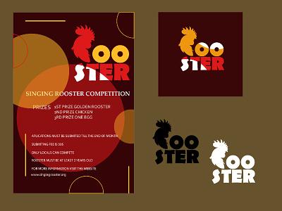 Rooster competition poster logo design redesign retro red firstposter first design poster rooster logo rooster competition minimal art typography illustration vector illustrator logo flat design branding