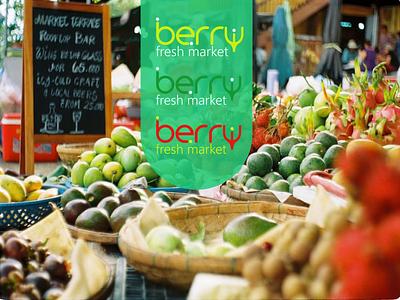 Berry fresh market design logodesign marketing fresh vegie vegtable fruit selling market fresh market fresh design minimal art typography illustration vector illustrator logo flat design branding
