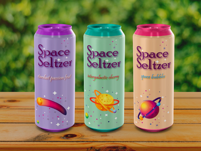 Space Seltzer colours packagelabel label sodalabel 250ml 500ml tallcan pack graphicdesigner graphicdesign flavour bubblegum cherry passionfruit spqce galaxy seltzer alkohol soda