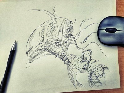 Robot fantasy illustration art graphic design sketch