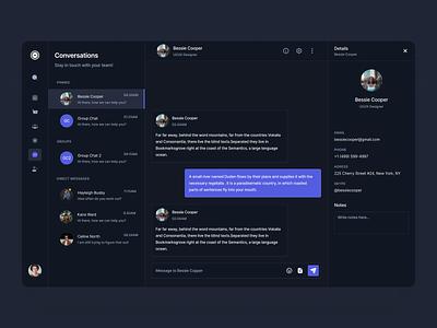 Scrolt: Dashboard Conversations Page (Dark Version) chat dark theme dashboard ecommerce black dashboard dark figma ui