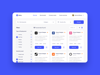 Workly search card filter find work website ui design ux