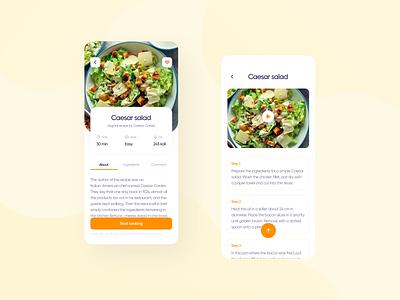 Recipe app rating steps cooking food stats dashboard recipe design mobile app ui ux