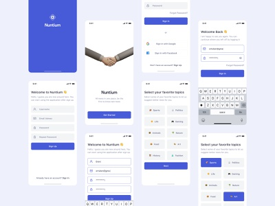 Nuntium: Sign In & Sign Up Screens signup sign in register screens login screens onboarding screens news app ui kit ui8 mobile app concept clean modern ux ui pixel-perfect figma