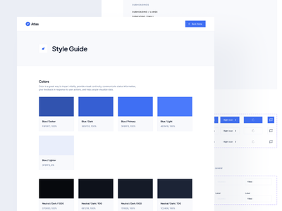 Personal Blog Template: Style Guide figma variants visual identity color scheme design guideline inputs buttons typography colors dark mode colors design system style guide atlas blog figma