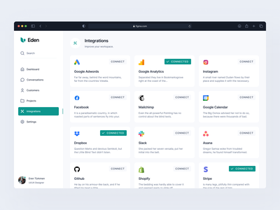 Dashboard: Integrations install settings desktop plugins saas toolbox integrations clean web app dashboard ui dashboard 4px grid pixel-perfect figma