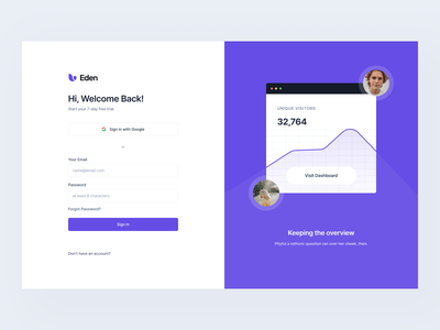 Onboarding: Sign In #Exploration web desktop ui ux dashboard ui sign up register login sign in onboarding dashboard clean pixel-perfect figma