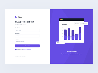 Onboarding: Get Started #Exploration figma pixel-perfect clean onboarding register login sign in sign up dashboard ui dashboard ux ui desktop web