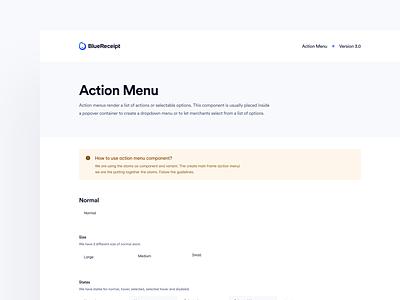 BlueReceipt's Design System: Pangea ✶ Action Menu dropdown action menu action list presentation hand-off bluereceipt component design system blue pangea design system blue