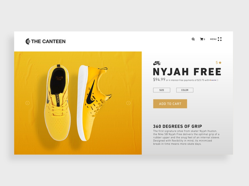 Product Page Redesign shoes skateboarding flat simple minimal web design interface uiux graphic design