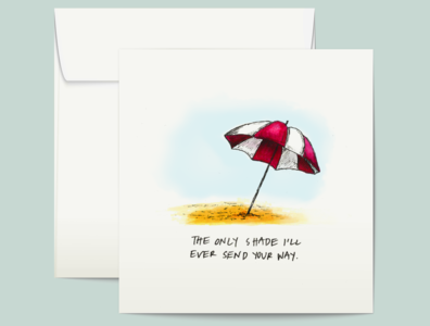 Shady Beach shady friendship umbrella beach watercolor illustration watercolor illustration greeting card greetingcard design