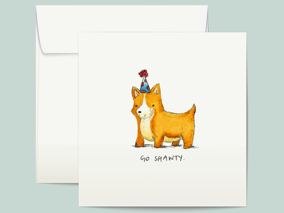 Go Shawty birthday card party birthday corgi watercolor illustration watercolor illustration greeting card greetingcard design
