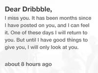 Dear Dribbble,