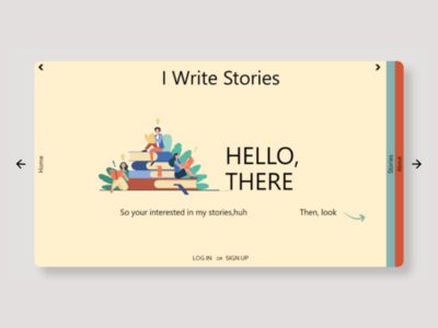 I write stories- writing blog landing page web design. ux ui design horizontal scrolling writing blog illustration orange green yellow typography fonts landing page