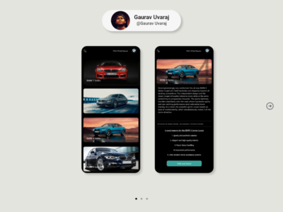 BMW App - Models page gaurav car booking e-commerce ux design ui design ui mobile app green black luxury car car bmw