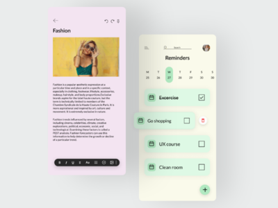 Notes app design minimal dribbble figma uxdesign pink to-do reminders word mobiledesign app uidesign uiux ux ui notes