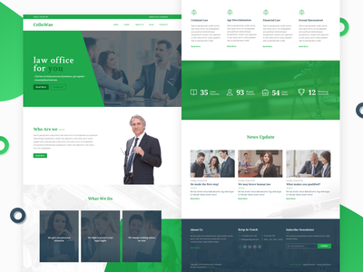 Landing page of Cellowae service ux ui attorney laws simple lawyer law attorneys
