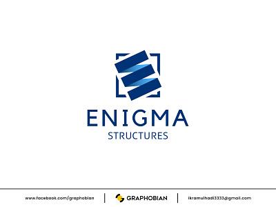 ENIGMA STRUCTURES monogram logomark decoration architecture construction modern logo e building design symbol vector icon branding logo design logo